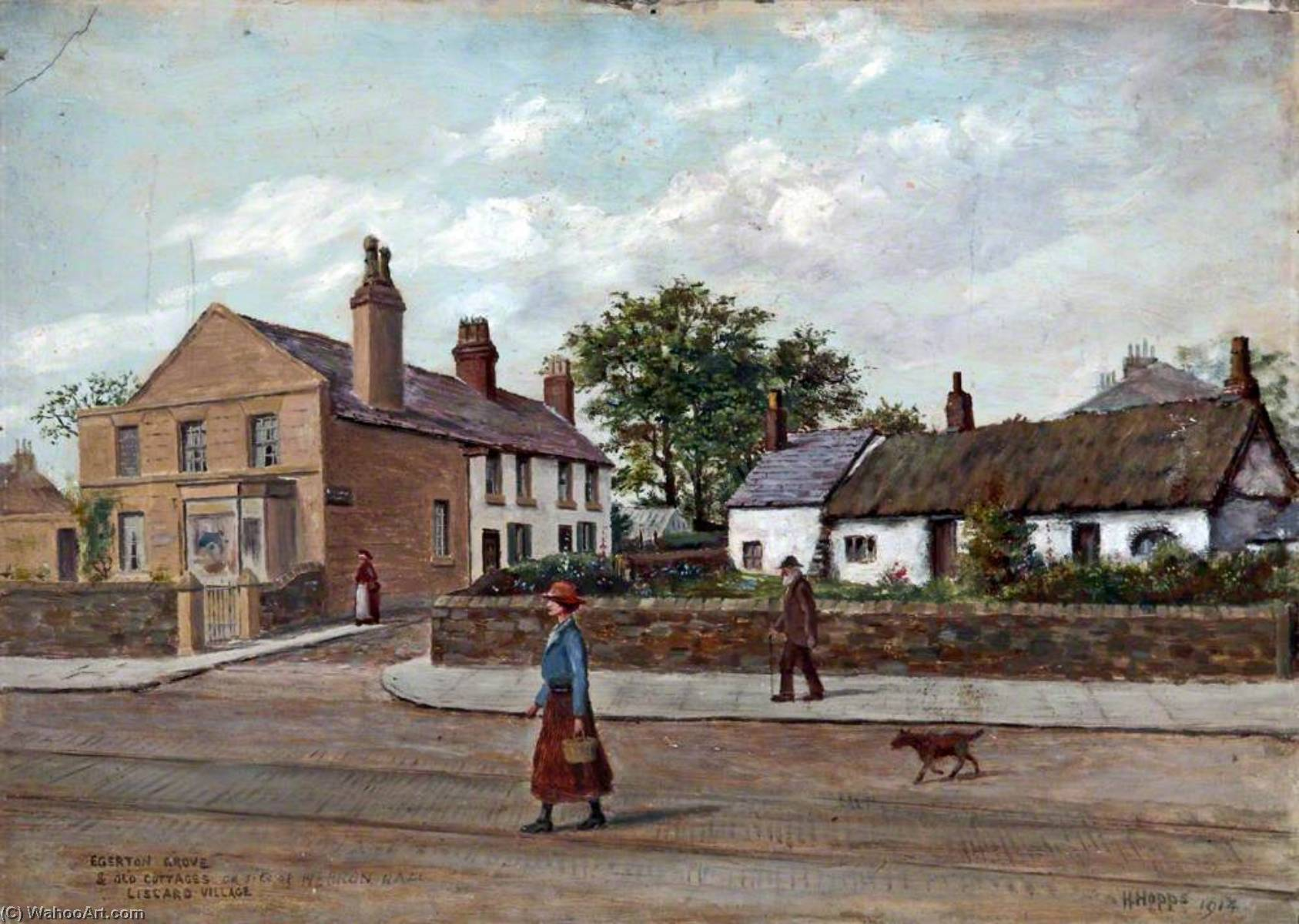 Order Art Reproductions | Egerton Grove and Old Cottages, Liscard Village, Wirral, 1914 by Harold Hopps | WahooArt.com