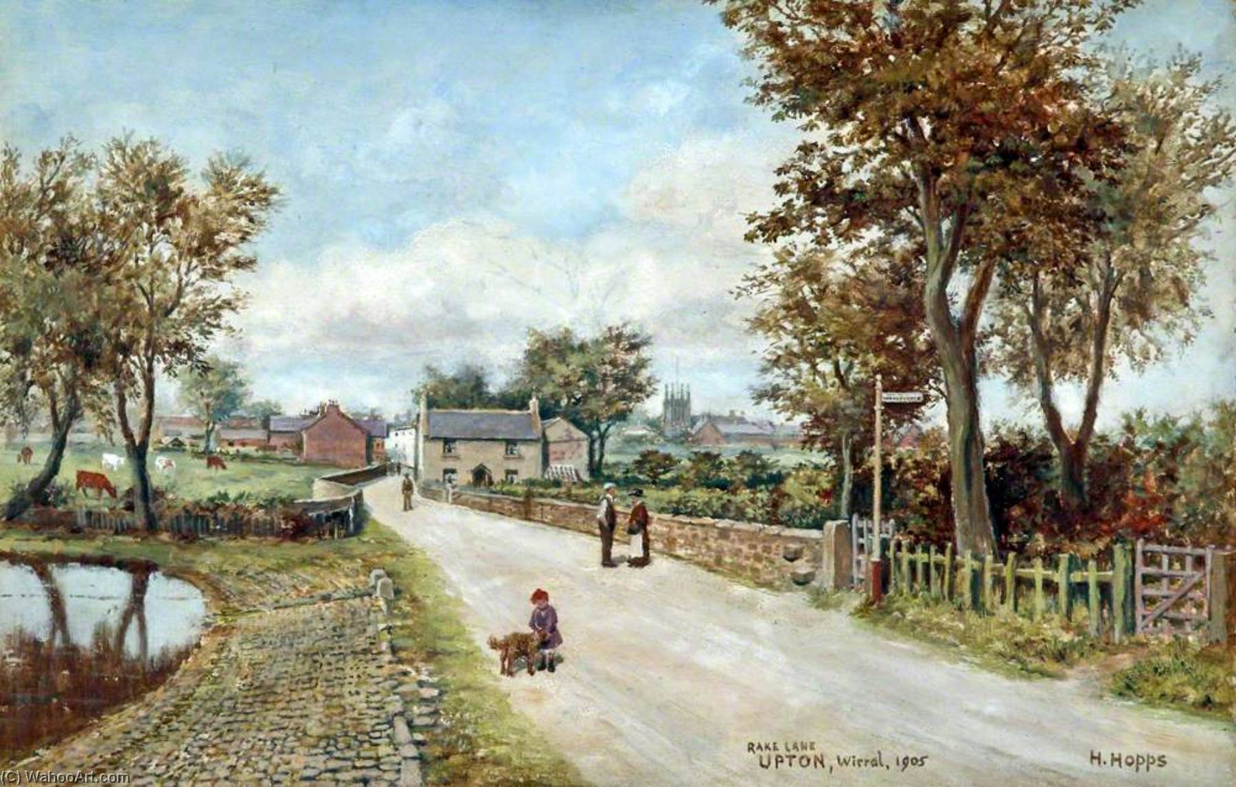 Rake Lane, Upton Village, Wirral, 1905 by Harold Hopps | Painting Copy | WahooArt.com