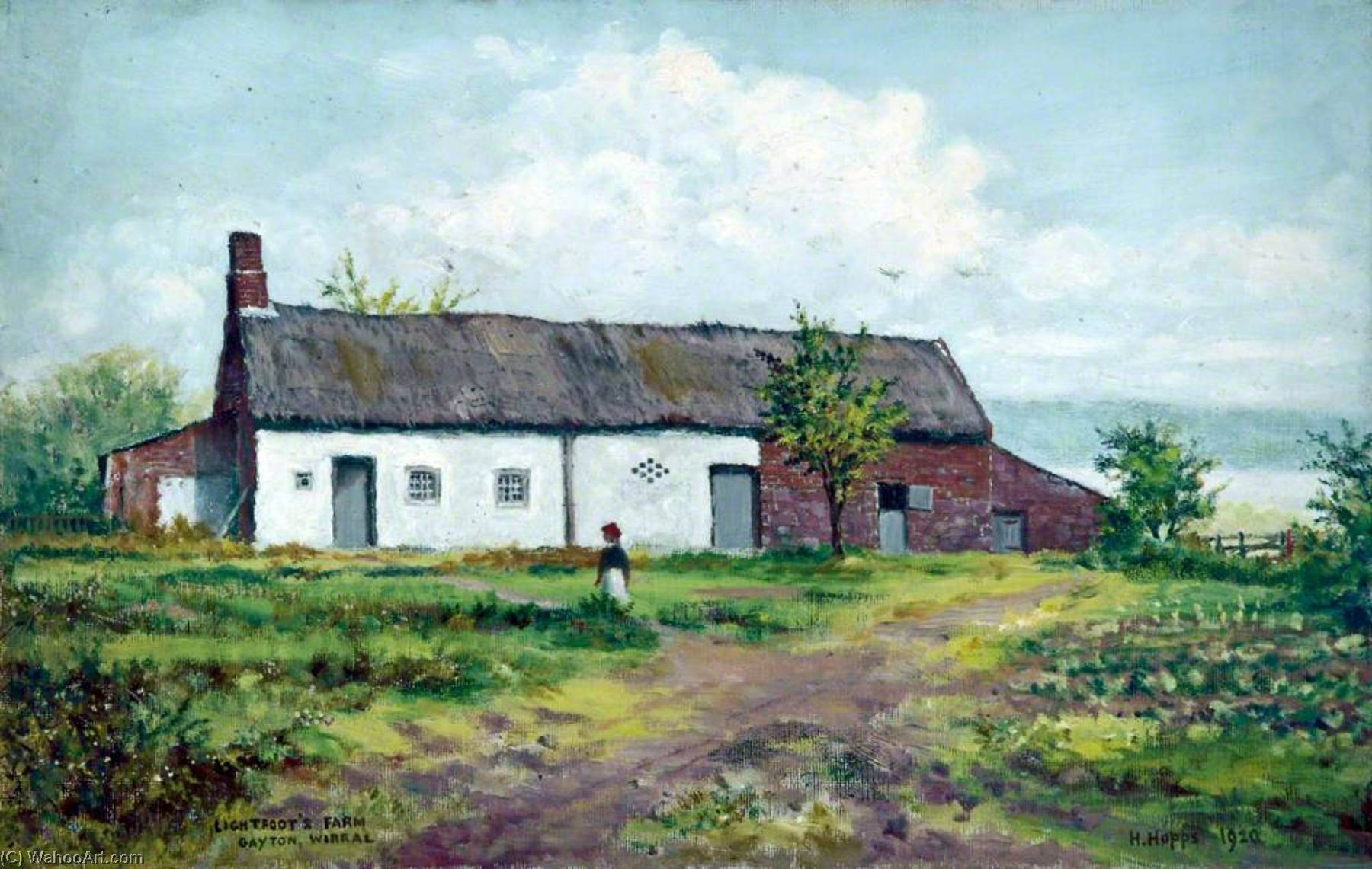 Lightfoot`s Farm, Gayton, Wirral, 1920 by Harold Hopps | Museum Quality Reproductions | WahooArt.com