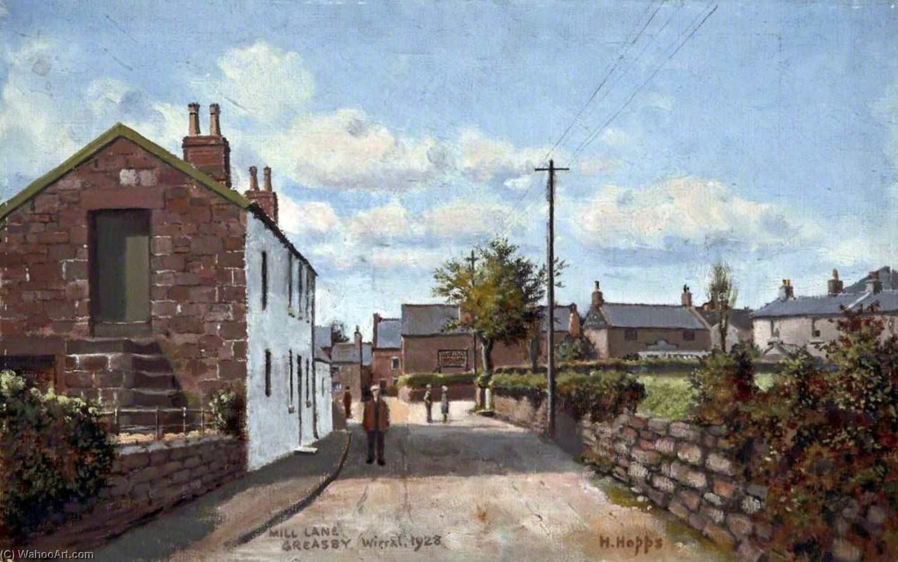 Mill Lane, Greasby, Wirral, 1928 by Harold Hopps | Museum Quality Reproductions | WahooArt.com