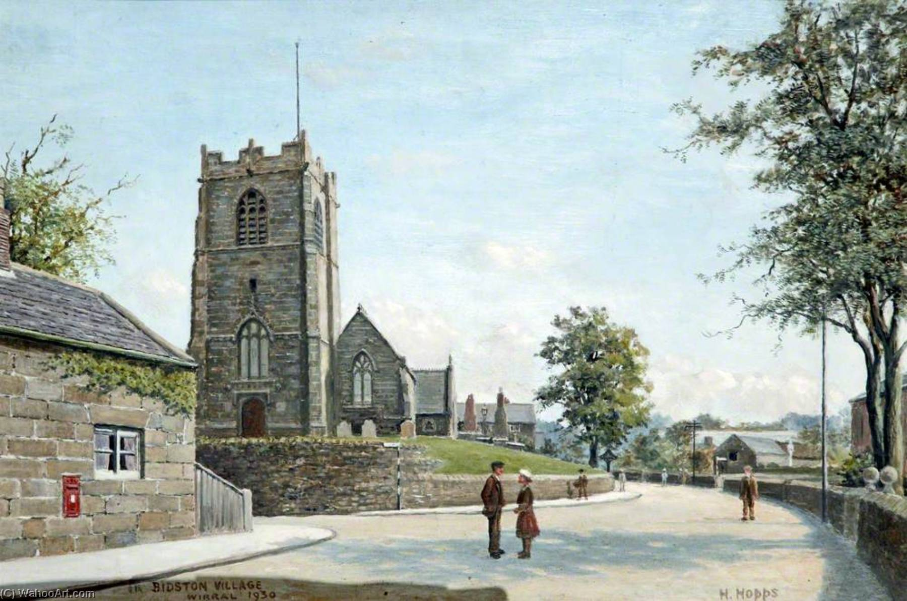 Bidston Village, Wirral, 1930 by Harold Hopps | Famous Paintings Reproductions | WahooArt.com