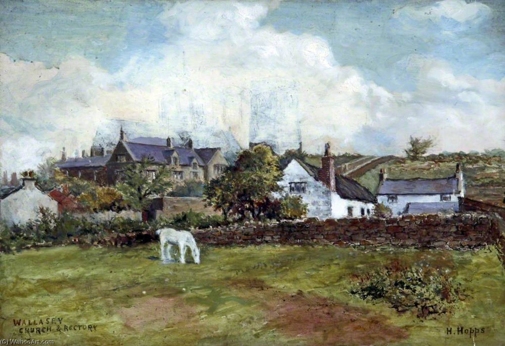 Wallasey Church and Rectory, Wirral by Harold Hopps | Oil Painting | WahooArt.com