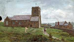 Harold Hopps - Wallasey Church and Hall from the North, Wirral