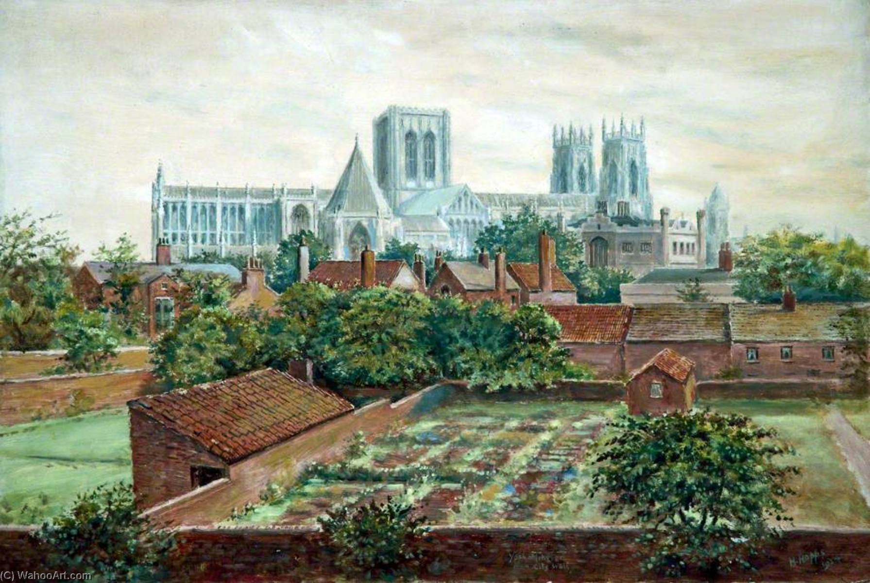 York Minster Cathedral from the City Walls, 1924 by Harold Hopps | Oil Painting | WahooArt.com