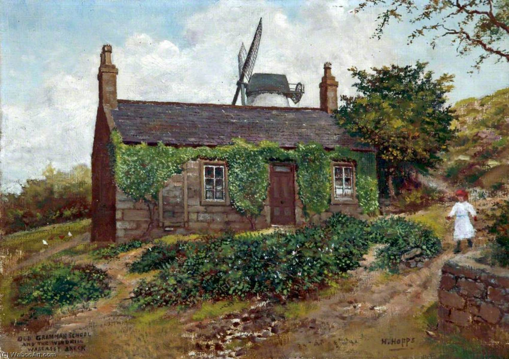 Old Grammar School and the Windmill, Wallasey, Wirral by Harold Hopps | Museum Quality Reproductions | WahooArt.com