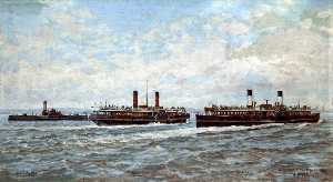 Harold Hopps - Ferry Boats on the River Mersey, 1890
