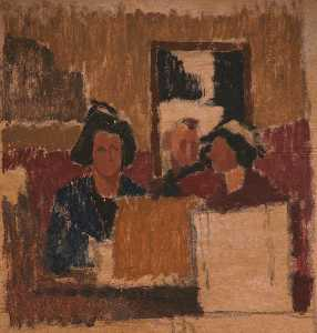 Edward Morland Lewis - Three Figures in a Room