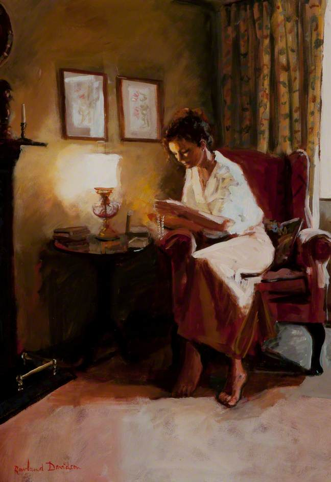Lady Reading a Book by Lamplight, 2001 by Rowland Davidson | Reproductions Rowland Davidson | WahooArt.com