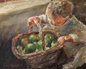 Rowland Davidson - Child and Apples
