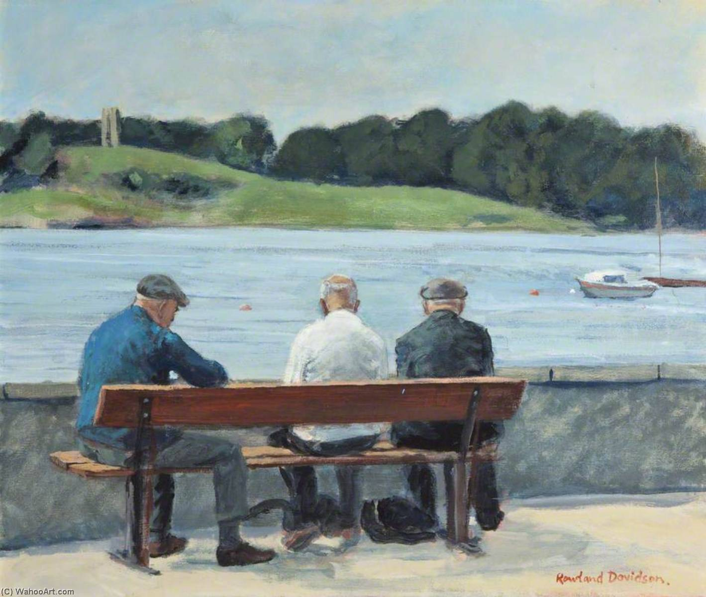 Friendly Chat, Portaferry by Rowland Davidson | Art Reproduction | WahooArt.com