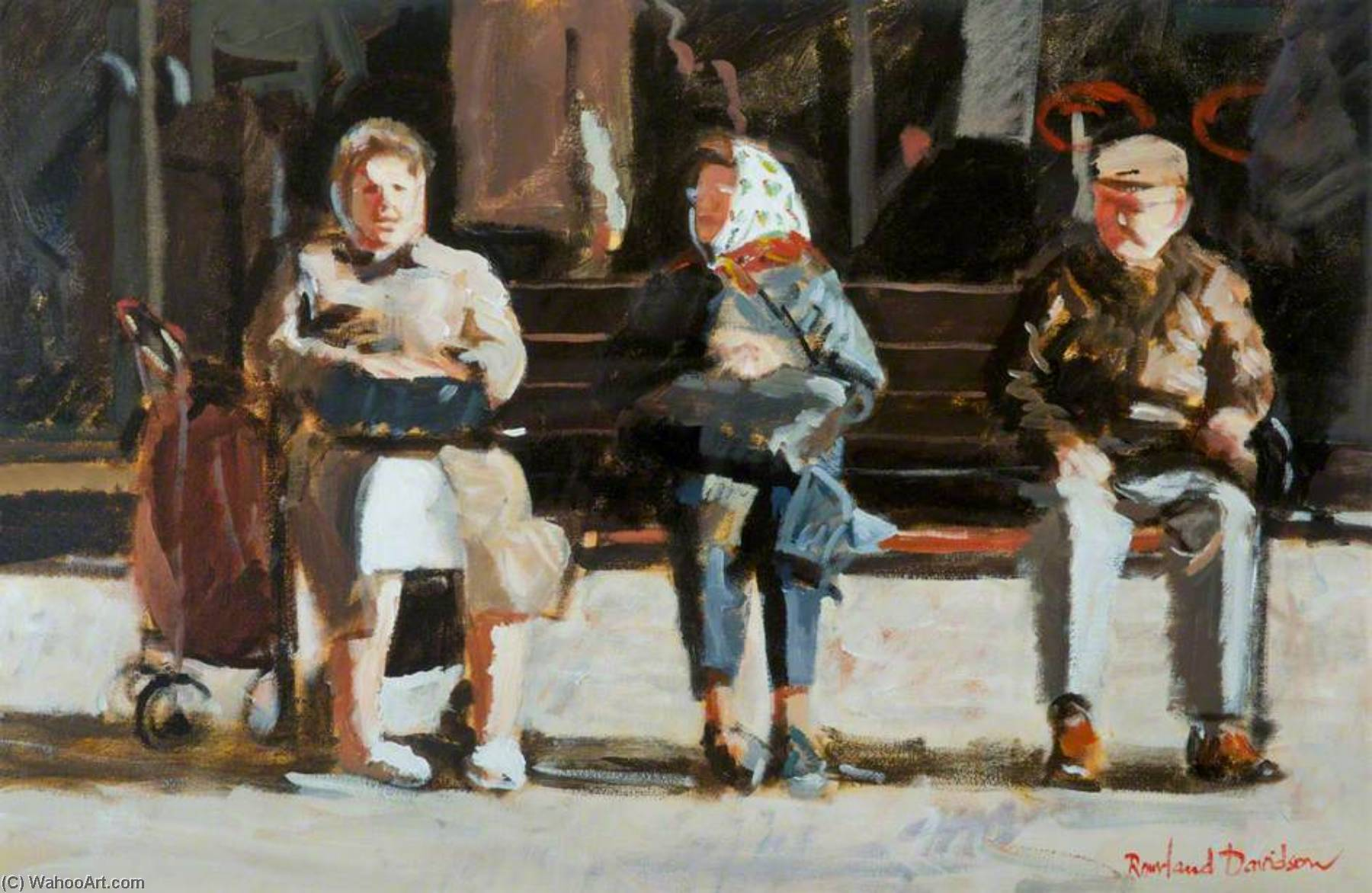 Senior Citizens, Donegall Place by Rowland Davidson | Oil Painting | WahooArt.com