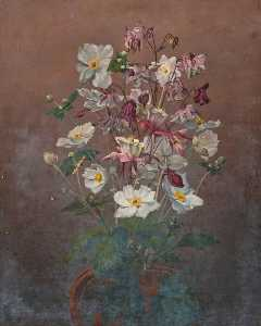 Robert Lillie - White Japanese Anemones and Columbine