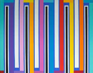 Mick Maslen - White Stripes (diptych, panel 1 of 2)