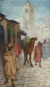 Georges Van Houten - Landscape with Figures and Camel