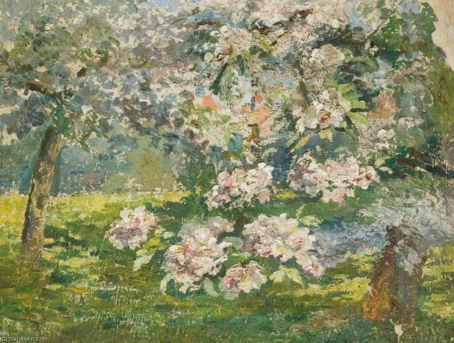 Apple Blossom in the Garden at Kingsley, Bushey, Oil On Canvas by Lucy Marguerite Frobisher