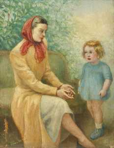 Georges Van Houten - Mother with a Red Headscarf and Child