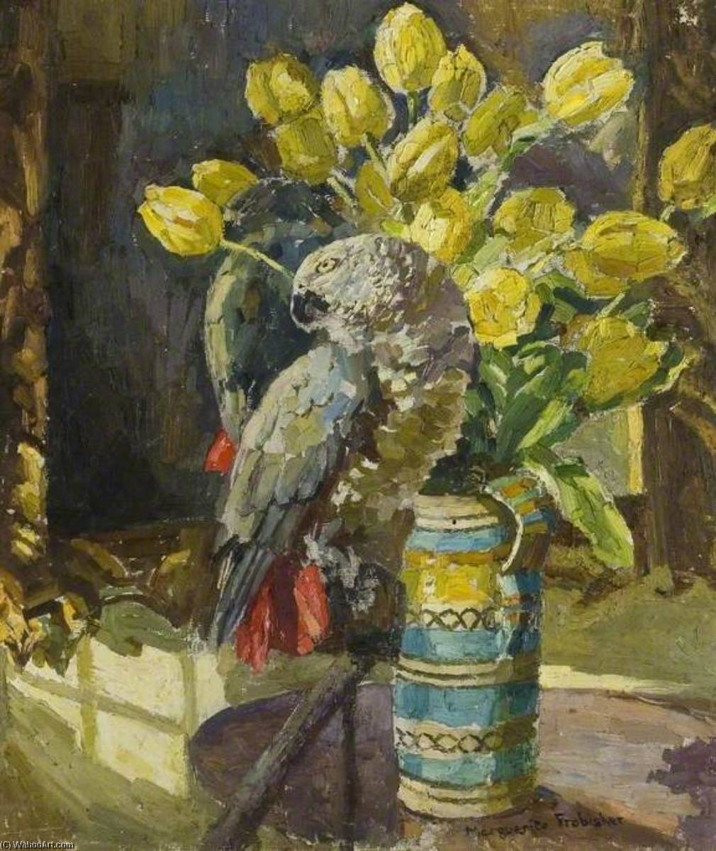 Parrot and a Jug of Yellow Tulips, Oil On Canvas by Lucy Marguerite Frobisher