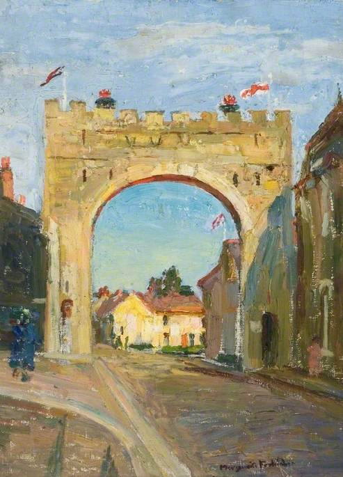 Coronation Arch from Falconer Road, Bushey, 1953, Oil On Canvas by Lucy Marguerite Frobisher