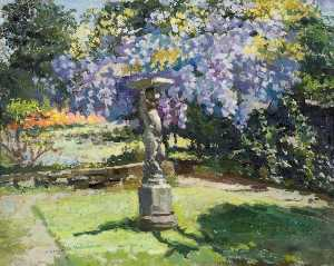 Lucy Marguerite Frobisher - Garden with Bird Table and Wisteria at Kingsley, Bushey