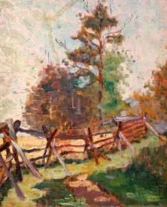 Elizabeth Muntz - Study of Fence and Trees in a Landscape