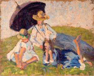Elizabeth Muntz - Woman and Children with an Umbrella