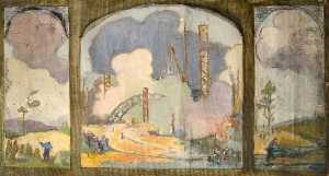 Elizabeth Muntz - Study for a Triptych of 'River with Industry'