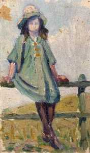 Elizabeth Muntz - Portrait of a Girl in a Green Hat