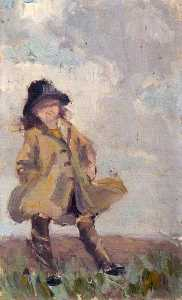 Elizabeth Muntz - Portrait of a Child Wearing a Coat and Hat