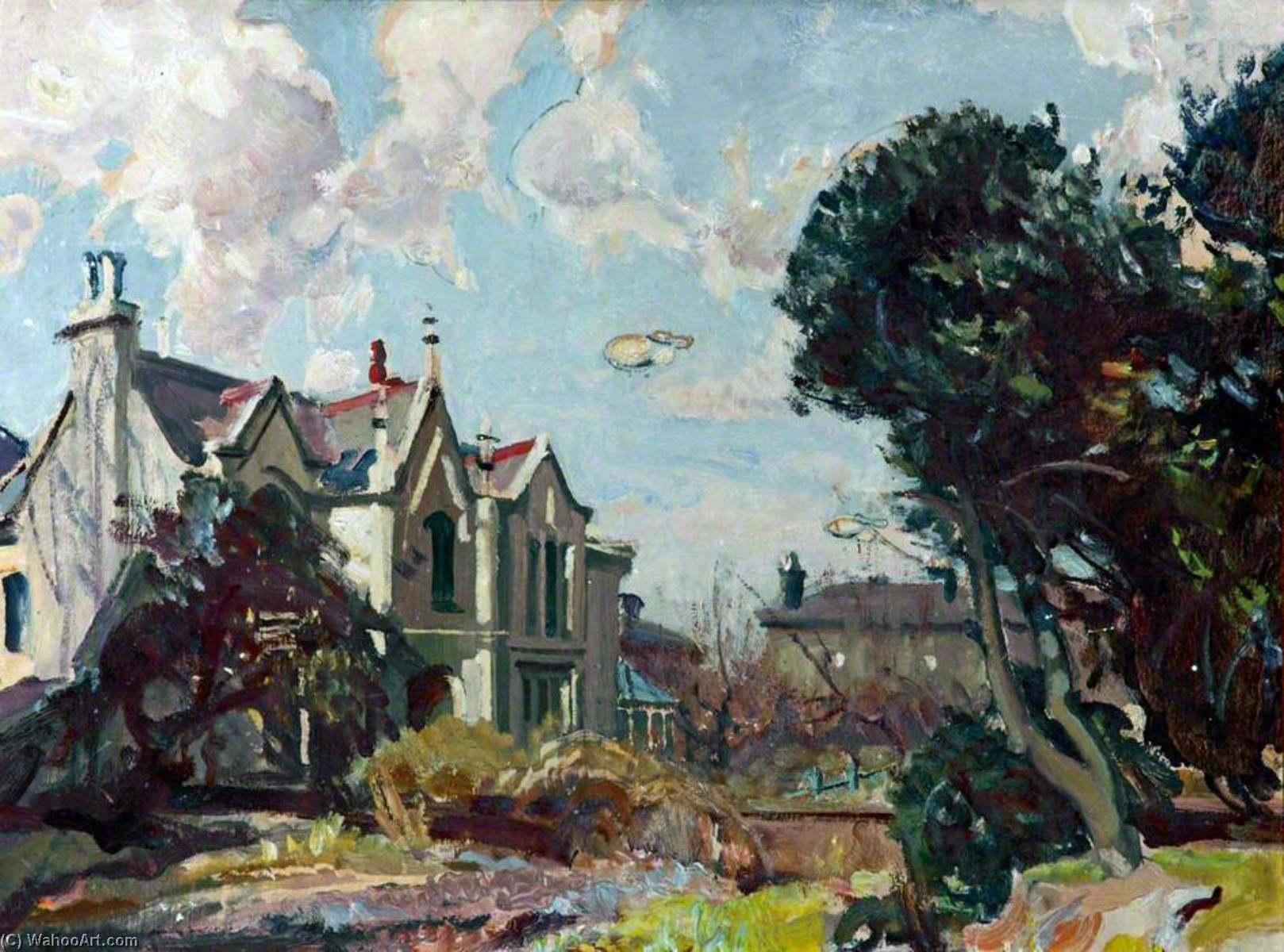 Caroline Place with Barrage Balloons, Oil by William Charles Penn