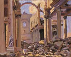 Winston Spencer Churchill - Ruins of the Cathedral of St Vaast, Arras, 1918 (after John Singer Sargent)