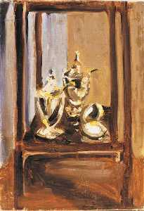 Winston Spencer Churchill - Still Life of Silver in a Cabinet