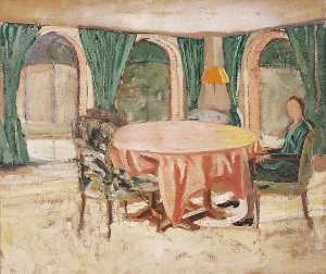 Winston Spencer Churchill - The Dining Room at Chartwell with Diana Churchill (1909–1963), Later Lady Duncan Sandys