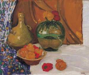 Winston Spencer Churchill - Still Life with a Bowl of Red and Yellow Peppers