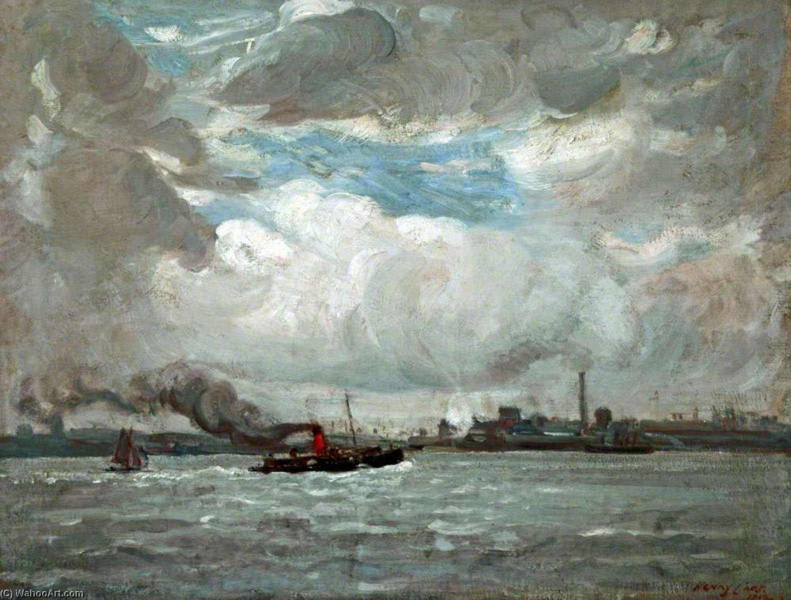 The Mersey, Oil On Canvas by Henry Marvell Carr