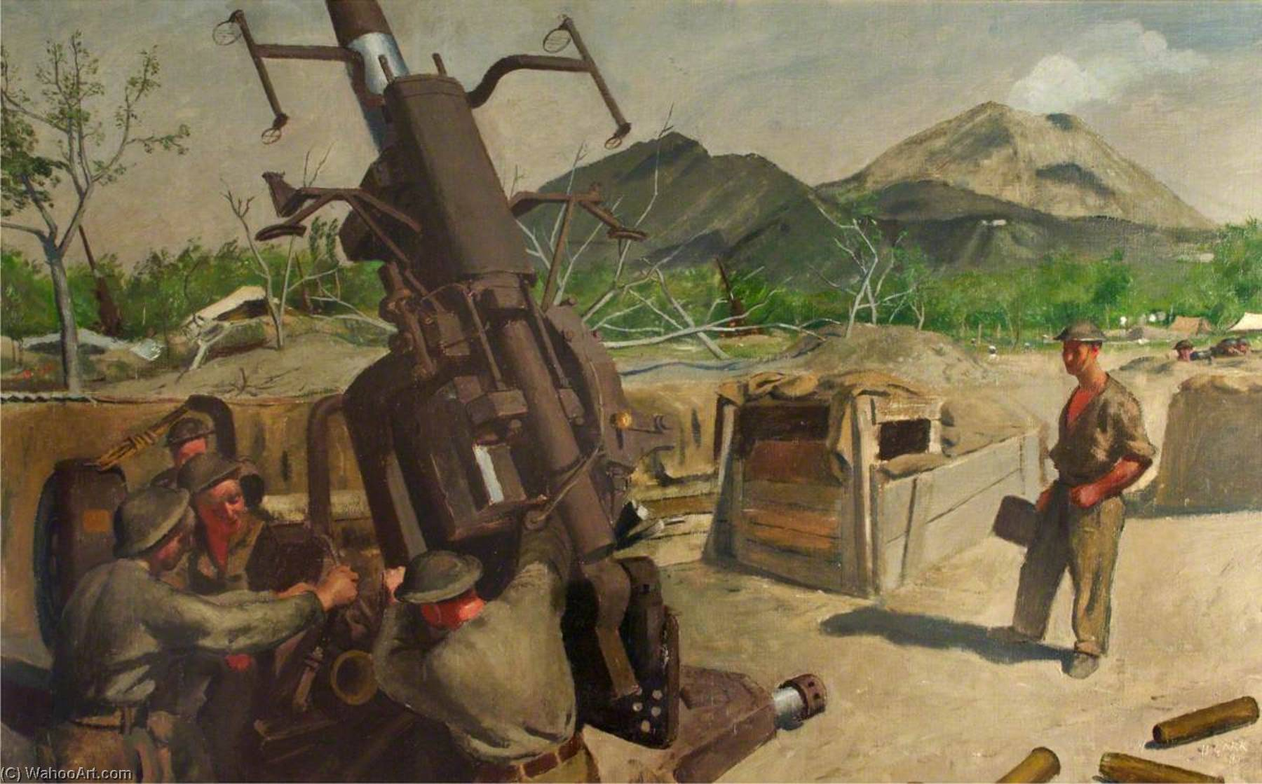A 3.7 Anti Aircraft Gun of 393 72 Heavy Anti Aircraft Regiment, RA, CMF, Oil On Canvas by Henry Marvell Carr