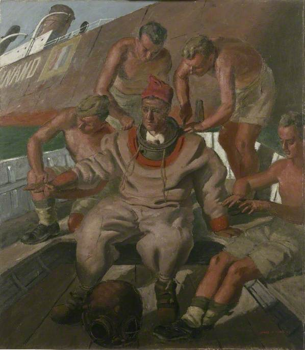 Army Divers Sappers of a Port Reconstruction and Repair Group, Oil On Canvas by Henry Marvell Carr