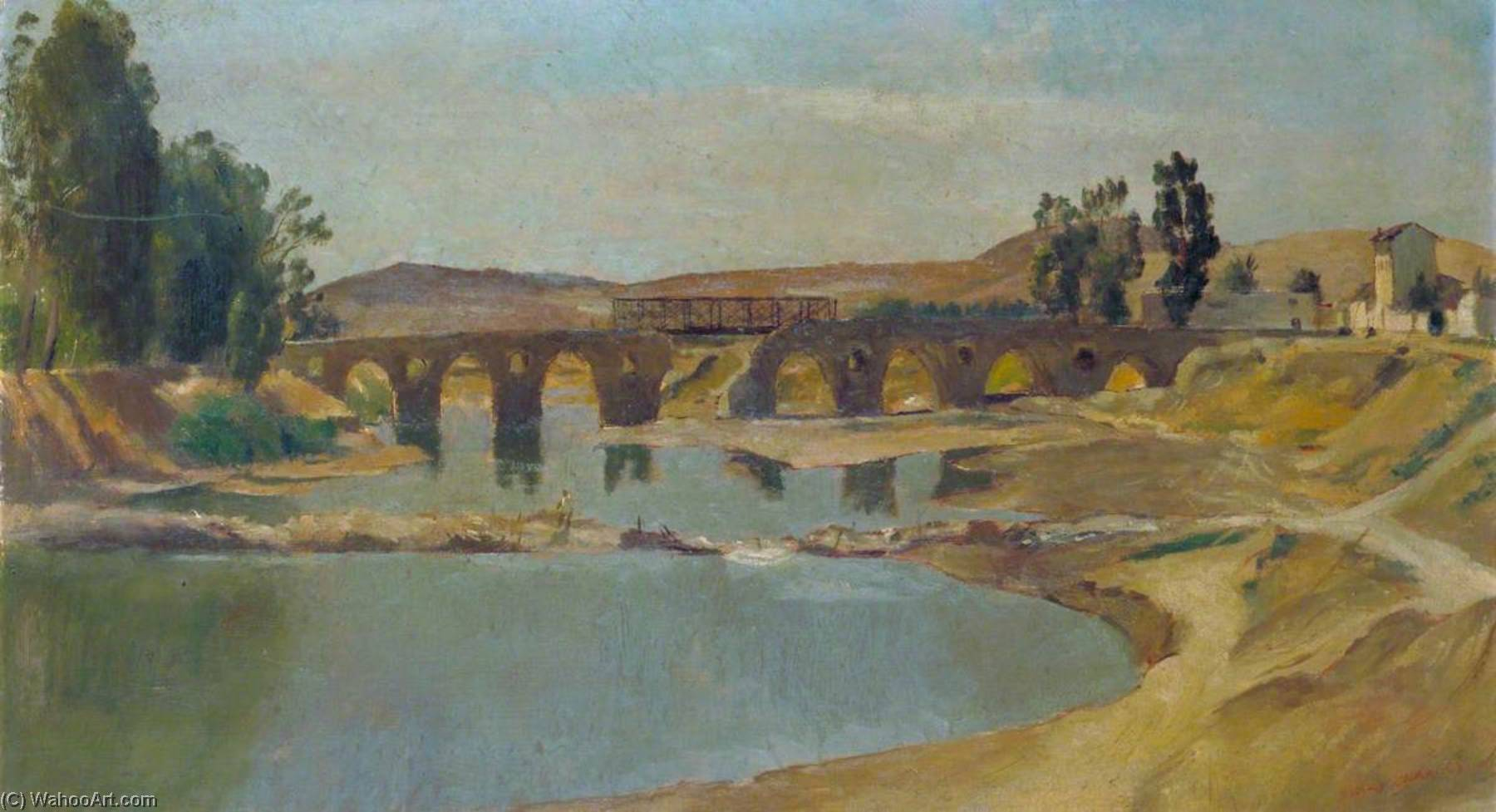 The Bailey Bridge at Medjez el Bab, Oil On Canvas by Henry Marvell Carr