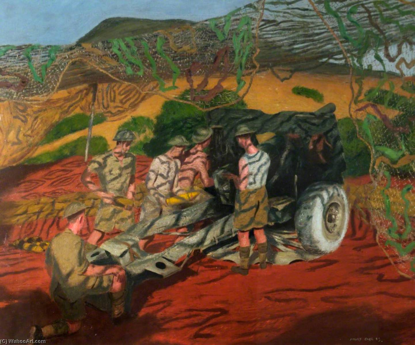 A Camouflaged 25 Pounder Gun in Action near Medjez el Bab with Djebel Djaffa, Tunis, in the Background, 1943 by Henry Marvell Carr | WahooArt.com