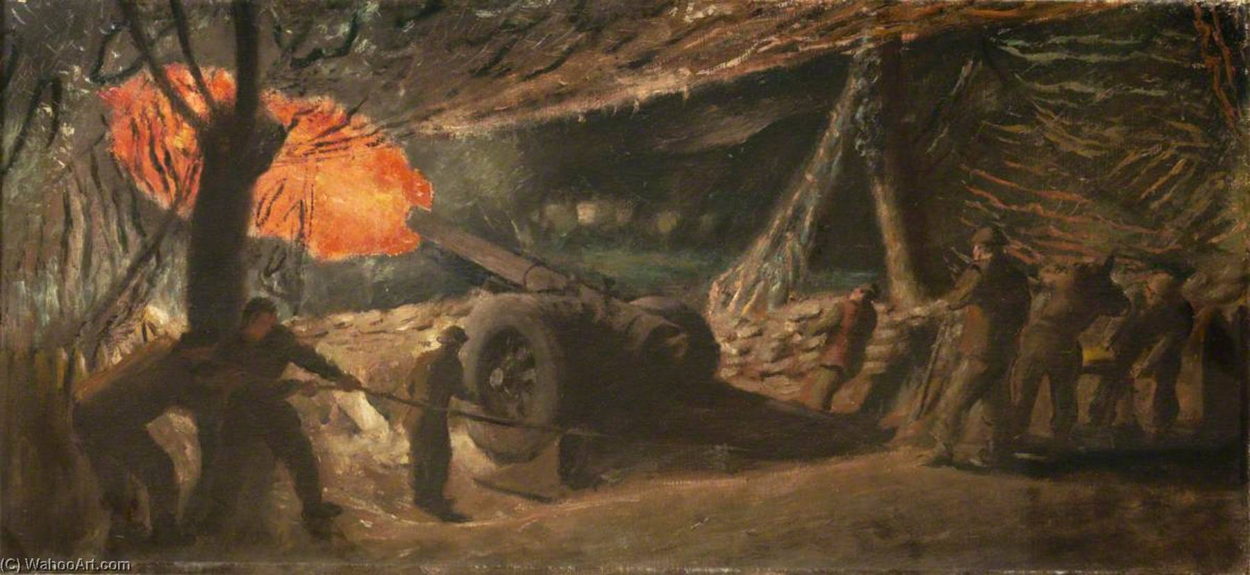 A 7.2 Gun Firing at Night, Oil On Canvas by Henry Marvell Carr