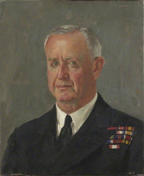Admiral of the Fleet, Sir Andrew Cunningham (1890–1967), Bt, GCB, DSO, Oil On Canvas by Henry Marvell Carr
