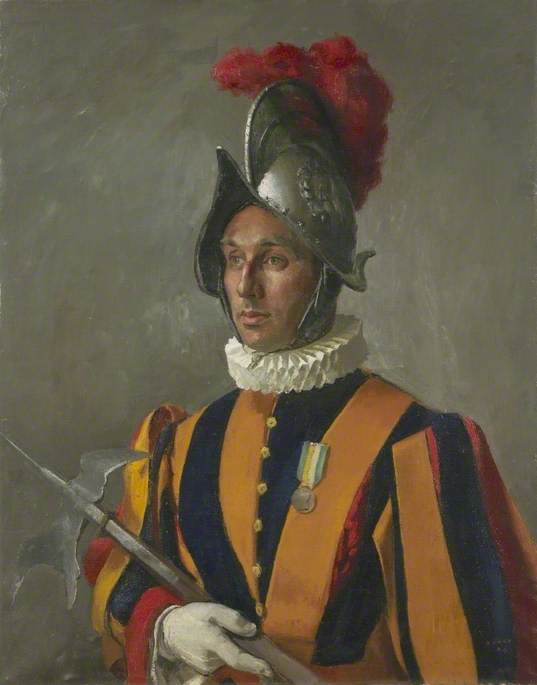 A Member of the Pope's Swiss Guard, Oil On Canvas by Henry Marvell Carr