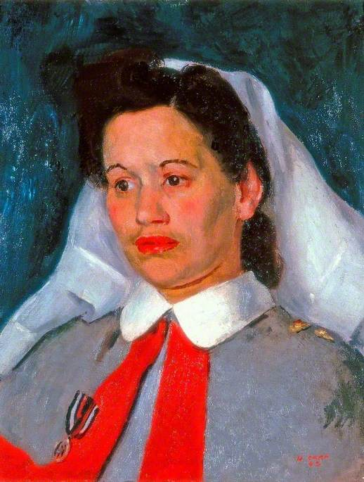 Sister Edna Morris, Queen Alexandra's Imperial Military Nursing Service, Oil On Canvas by Henry Marvell Carr