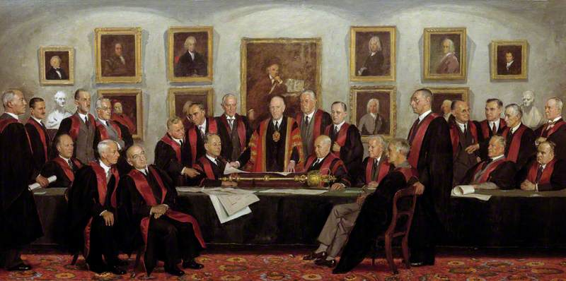 Council of the College, 1946–1947, Oil On Canvas by Henry Marvell Carr