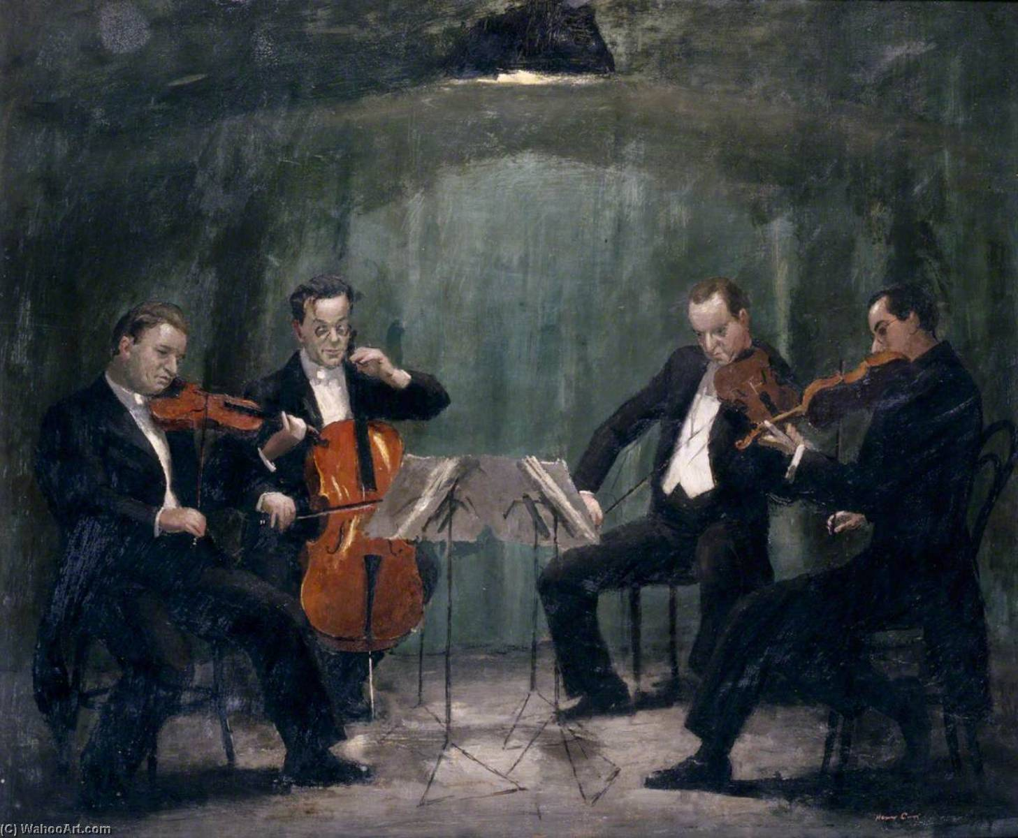 The Griller Quartet Sidney Griller (1911–1993), CBE, FRAM (leader), Colin Hampton (1911–1996), FRAM (cello), Philip Burton (1907–1961), FRAM (viola), and Jack O`Brien (b.1909), FRAM (violin), 1941 by Henry Marvell Carr | Oil Painting | WahooArt.com