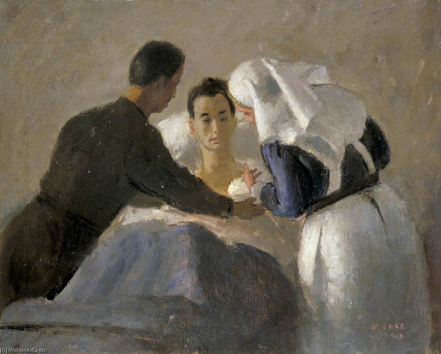 Nurse Giving an Injection of Penicilin to a Wounded Man, 15th Canadian General Hospital, Oil On Canvas by Henry Marvell Carr