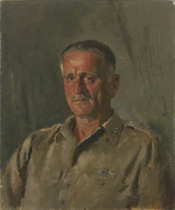 General Spaatz (1891–1974), Air Commodore in Chief, American Air Force, Oil On Canvas by Henry Marvell Carr