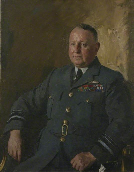 Air Marshal Sir Leslie Hollinghurst, KBE, CB, DFC, 1945 by Henry Marvell Carr | Museum Quality Reproductions | WahooArt.com