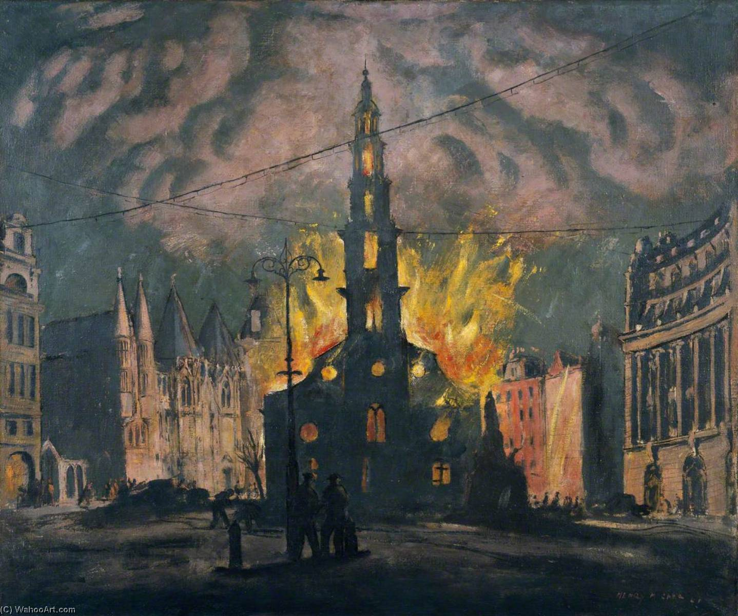 St Clement Dane`s Church on Fire after Being Bombed, 1941 by Henry Marvell Carr | Painting Copy | WahooArt.com
