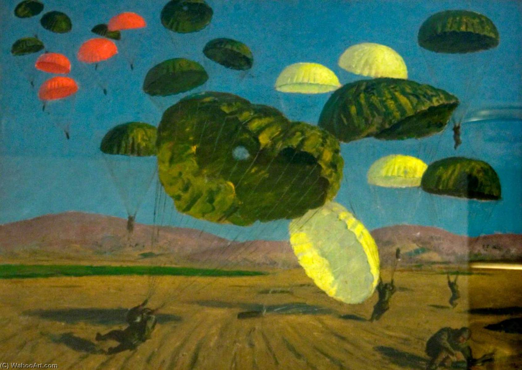 Order Museum Quality Reproductions : Parachute Drop, 1943 by Henry Marvell Carr | WahooArt.com