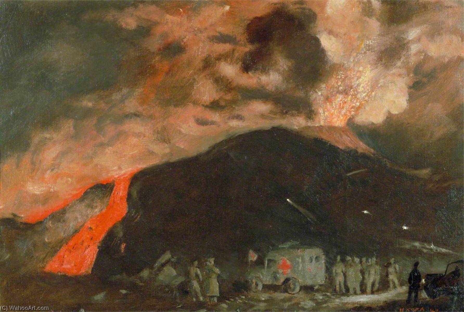 Vesuvius in Eruption, March 1944, Oil On Canvas by Henry Marvell Carr
